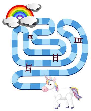 Rainbow unicorn board game template for preschool kids isolated illustration Vettoriali