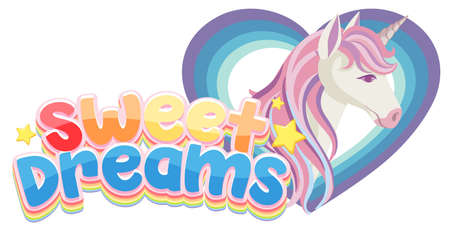 Sweet dreams logo in pastel color  with unicorn in heart frame illustration