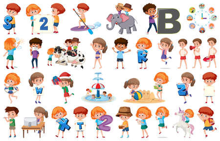 Large set of children doing different activities on white background illustration Illustration