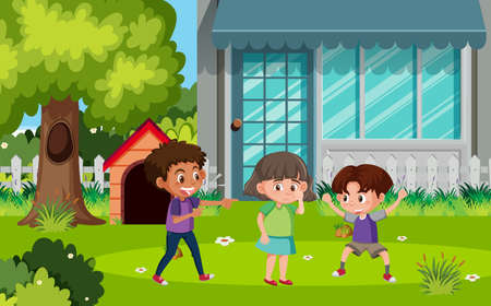 Scene with kids bullying friend in the park illustration Illustration