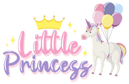 Little princess logo with unicorn in pastel color with sparkling illustration Illustration