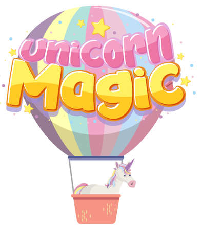 Unicorn magic logo in pastel color with cute balloon illustration