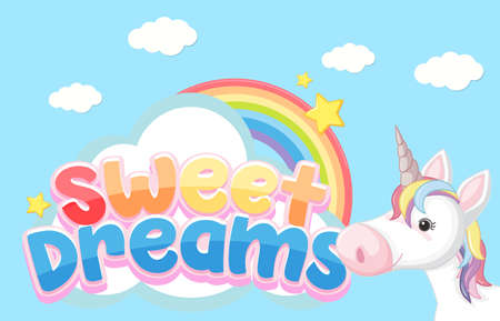 Sweet dreams logo in pastel color with unicorn illustration