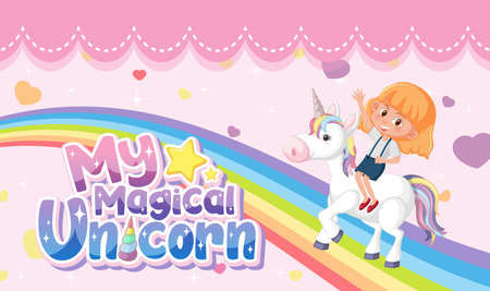 Little princess logo with girl riding on unicorn on pink pastel background illustration