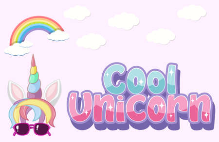 Cool unicorn logo in pastel color with cute unicorn illustration Illustration
