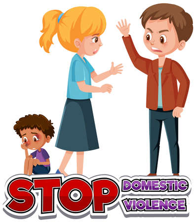 Stop domestic violence font design with father bullying mom and kid illustration
