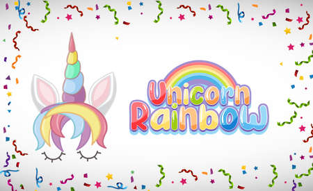 Unicorn rainbow logo in pastel color with cute unicorn illustration