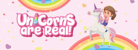 Unicorn are real logo with girl riding on unicorn on pink background illustration