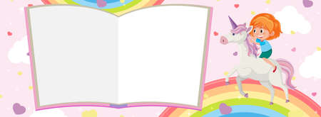 Blank book pages and girl riding unicorn with rainbow on pink background illustration Illustration