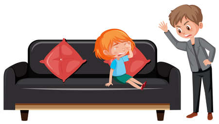 Domestic violence scene with parents bullying their kid illustration