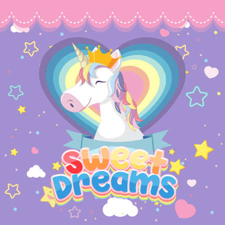 Sweet dreams logo with cute unicorn head on purple background illustration