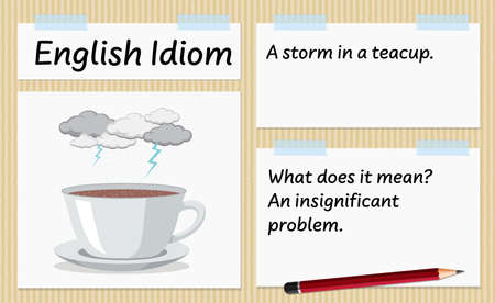 English idiom a storm in a teacup template illustration
