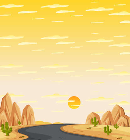 Vertical nature scene or landscape countryside with middle road in desert view and yellow sunset sky view illustration