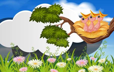 Bird in nature banner template illustration