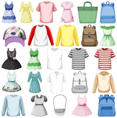 Set of fashion outfits illustration Vektorové ilustrace