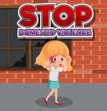Stop domestic violence font design with sad girl illustration