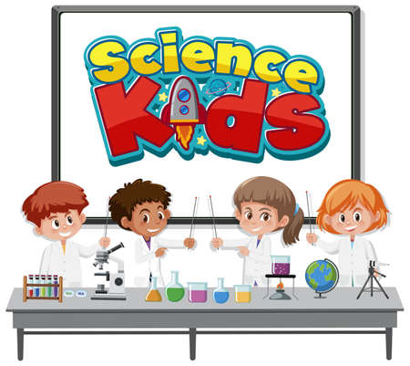 Science kids logo and kids wearing scientist costume isolated illustration Logos