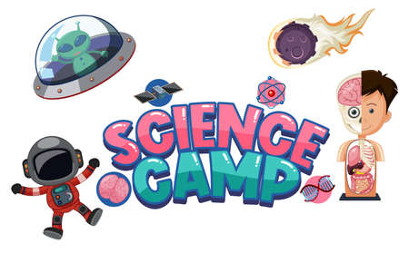 Science camp logo with science education objects isolated illustration