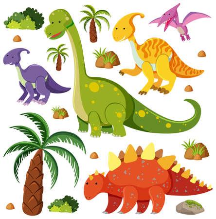 Set of cute dinosaurs isolated on white background illustration