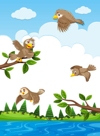 Sparrow in the nature illustration