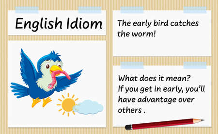 English idiom the early bird catches the worm template illustration Illustration