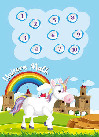 Count to ten for preschool in rainbow and unicorn theme background illustration