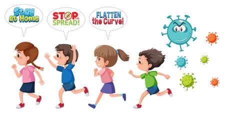Children run away from coronavirus illustration Ilustración de vector