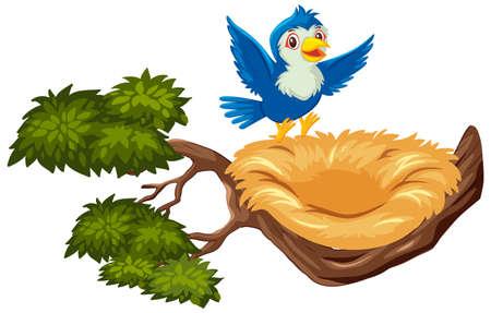 Happy blue bird flying to empty nest illustration Ilustración de vector