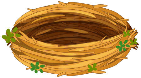 Isolated empty bird nest on white background illustration
