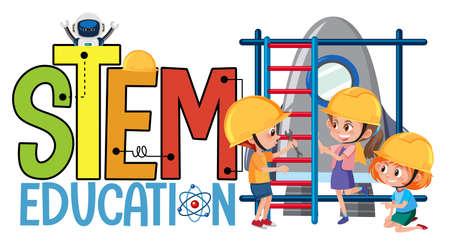 Stem education logo with kids wearing engineer costume isolated illustration Illustration