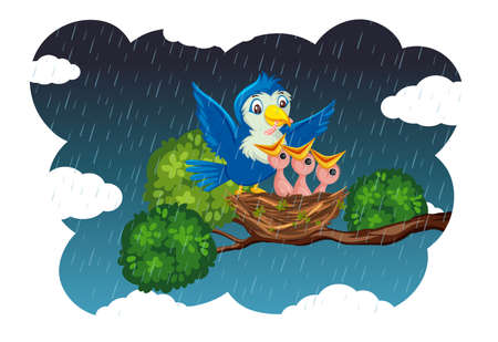 Chicks and its mother bird in nature illustration