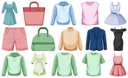 Set of clothes mock up illustration