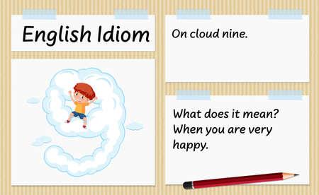 English idiom on cloud nine template illustration Illusztráció