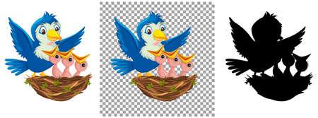 Bird chicks cartoon character illustration Vettoriali