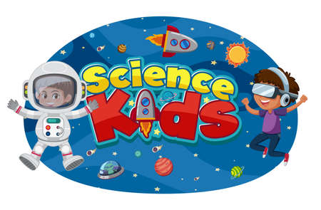 Science kids logo with astronauts and space objects isolated illustration