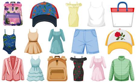 Set of fashion outfits illustration
