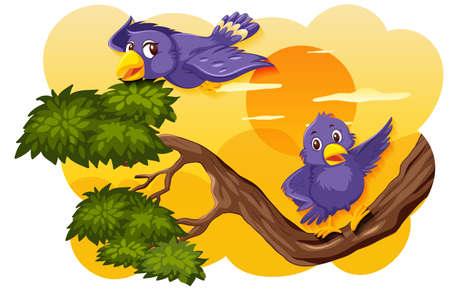 Bird in nature sunset scene illustration