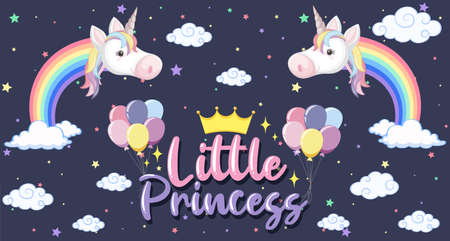 Cute unicorn banner on pastel background color illustration Vectores