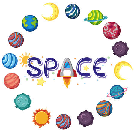 Space logo with many planets in circle shape isolated illustration Иллюстрация