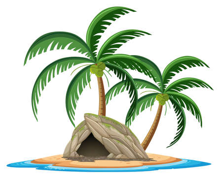 Stone cave on the tropical island cartoon style on white background illustration Иллюстрация