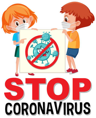 Stop coronavirus logo with kid holding stop coronavirus sign illustration Иллюстрация