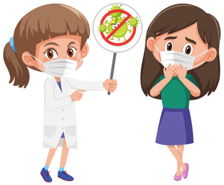 Girl wearing mask with doctor holding stop coronavirus sign illustration