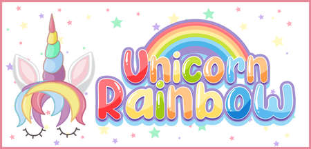 Unicorn rainbow logo in pastel color with cute unicorn and star confetti illustration Иллюстрация