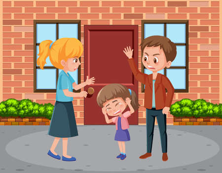 Scene with parents bullying their family at home illustration