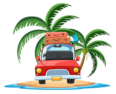 Travelling car on the tropical island cartoon character on white background illustration