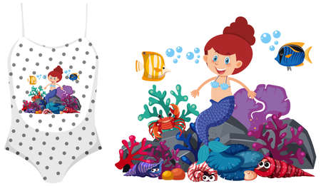 Mermaid theme outfit mock up illustration