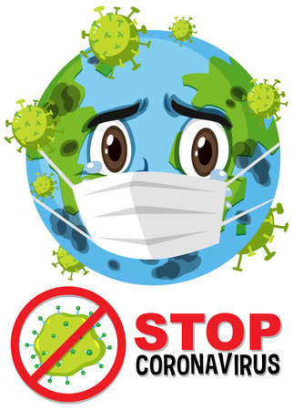 Stop coronavirus prohitbit sign with earth cartoon character attack by coronavirus illustration Иллюстрация