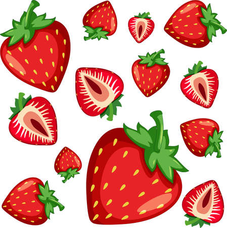 Strawberry seamless pattern on white background illustration