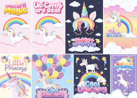 Cute unicorn banner on pastel background color illustration Иллюстрация