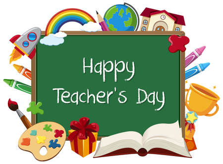 Happy Teacher's Day sign with set of stationary elements on chalkboard illustration Иллюстрация